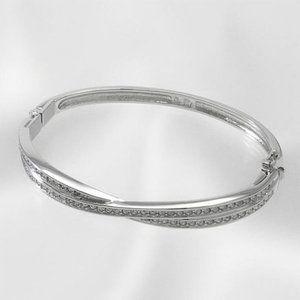 Swarovski Edith Twisted Silver Crystal Bangle
